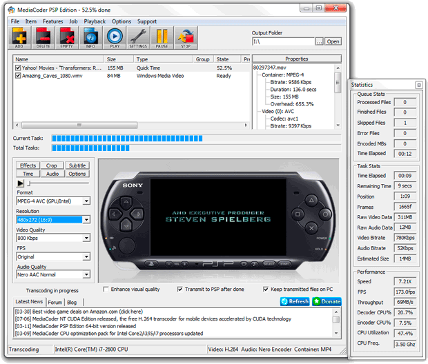 MediaCoder PSP Edition x64 screenshot